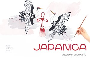 Japan watercolor graphic set