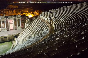 Ruins of theater in night time in ancient Hierapolis, now Pamukkale, Turkey