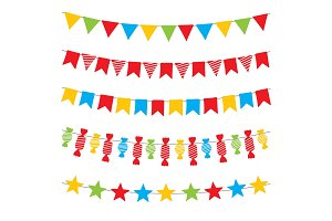 Colorful bunting flags and garlands