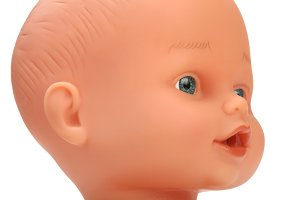 closeup face of baby doll
