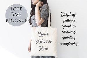 Tote Bag mockup - Woman carrying bag