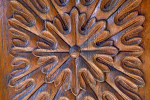 brown flower carved wood