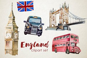 Watercolor England Clipart Set