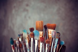Bunch of artist paintbrushes