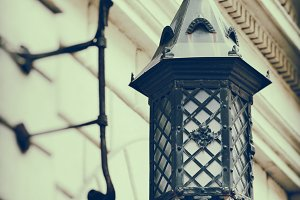 Decorative street lamp on wall