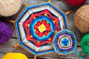 Knitted tibetan mandala from threads