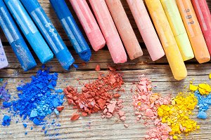 Rainbow colored pastel crayons