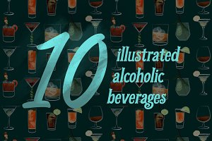 10 Illustrated Alcoholic Beverages