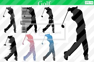 Silhouette of a golf player. Set