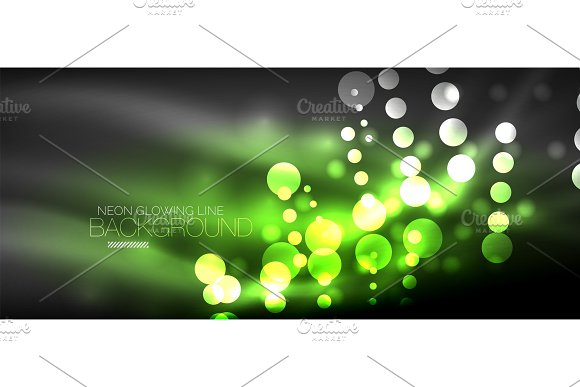 Circle Abstract Lights Neon Glowing Background