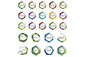 Hexagon icons, vector minimalistic geometric design elements, business symbols