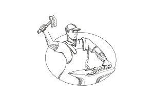 Farrier Wielding Hammer Oval Doodle