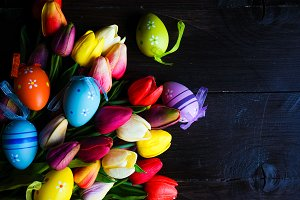 Easter holiday card with tulips