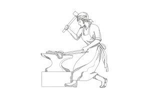 Female Blacksmith at Work Doodle Art