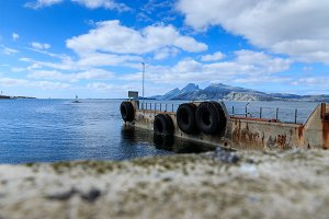 Old ferry dock in fjord in Norway, Europe