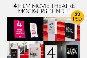4 Film Movie Theatre Poster Mock-Ups