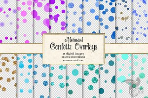 Mermaid Confetti Overlays