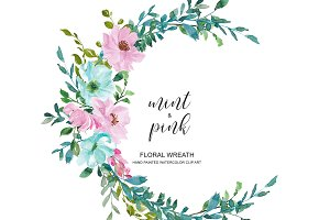Watercolor Mint & Pink Wreath