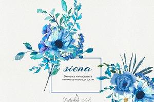 Watercolor Blue Florals