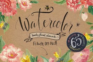 Watercolor flower DIY Pack