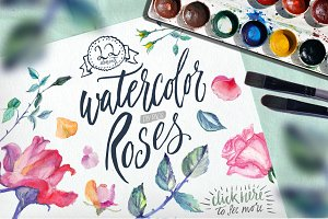 Watercolor Roses DIY pack 22elements