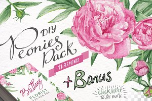 Watercolor Peonies DIY Pack +bonus