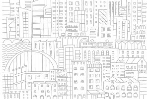 Big city background texture skyscraper sketch buildings. Gray line skeleton strokes Modern architecture landscape. Hand drawn vector stock illustration.