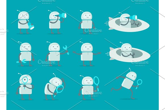 Robot Alien Character Set With Telescope Search End Wrench Repairs On Rocket Spaceship Flat Color Vector Illustration Stock Clipart