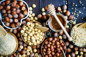 Flatlay with hazelnuts