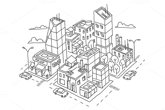 Isometric Quarter Big City Sketch Skyscrapers And High-rise Buildings Home Architecture City Center Hand Drawn Black Line