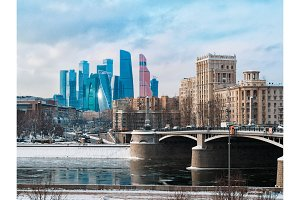 Moscow architecture, modern city skyscrapers