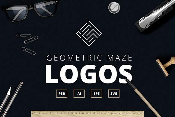 Geometric Maze Logos Templates