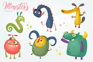 Cartoon monster characters (vector)