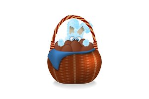 Fluffy easter bunny is looking out. Wicker basket full of chocolate easter eggs.