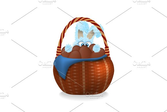 Fluffy Easter Bunny Is Looking Out Wicker Basket Full Of Chocolate Easter Eggs