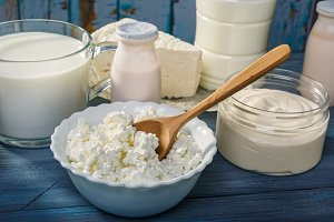 Dairy products on blue table