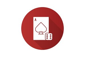 Dice and playing card flat design long shadow glyph icon