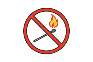 Forbidden sign with burning matchstick color icon