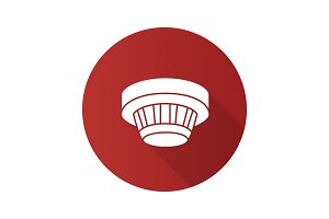 Smoke detector flat design long shadow glyph icon