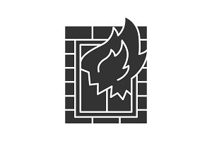 House on fire glyph icon