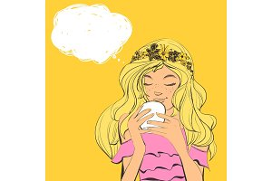 Cute woman with freckles and flowers diadem on beautiful hair drinking tea. Vector illustration with bubble for text.