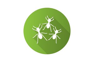 Ants flat design long shadow glyph icon