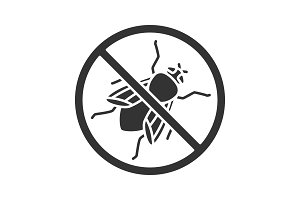 Stop housefly sign glyph icon