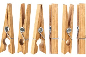 Set of clothespins isolated on white background