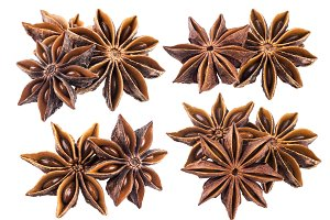 Star anise isolated on white background closeup