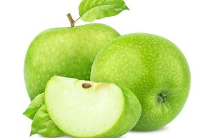 Green apples with leaves isolated on white