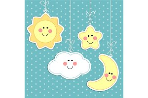 Retro background as handmade fabric cloud, moon, star and sun as cartoon characters, scrap booking elements