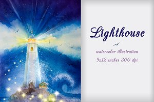 Lighthouse. Watercolor illustration