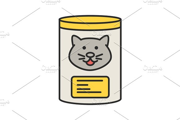Canned Cat Food Color Icon