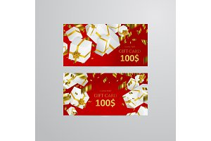 Gift 3D background. Festive box gift card